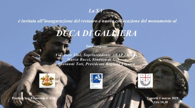 Inaugurazione del restauro del Monumento al Duca di Galliera